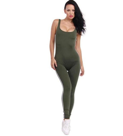 - #0802 2017 Black/White jumpsuit Sexy bandage jumpsuit long One piece Rompers womens Body femme Women overalls Beyonce Ooveralls - Army Green / S  jetcube