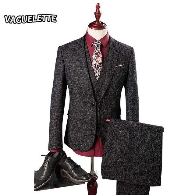 - (Blazer+Pants+Vest) Tweed Mens Suits Wedding Groom Skinny Shine Stage Wear For Singer Classic Casual Men Slim Fit Suits M-3XL - Black / M  jetcube