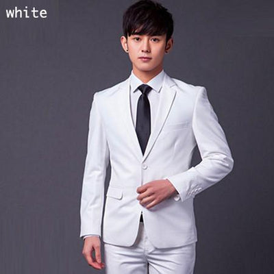 - (Jakcet+Pant+Tie) Men Formal Business Suit Sets Brand Design One Button Slim Fit Dress Wedding Party Fashion Casual Suits - white / 4XL  jetcube