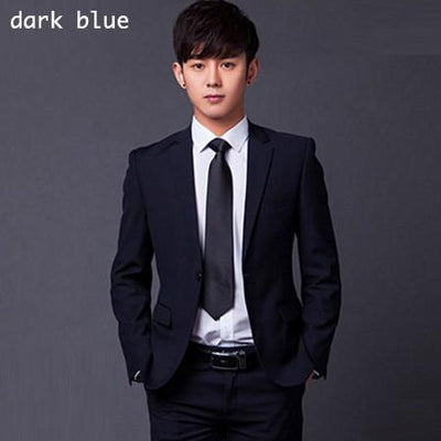 - (Jakcet+Pant+Tie) Men Formal Business Suit Sets Brand Design One Button Slim Fit Dress Wedding Party Fashion Casual Suits - dark blue / 4XL  jetcube