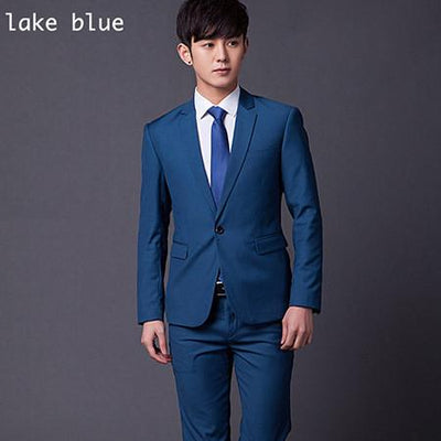 - (Jakcet+Pant+Tie) Men Formal Business Suit Sets Brand Design One Button Slim Fit Dress Wedding Party Fashion Casual Suits - lake blue / 4XL  jetcube