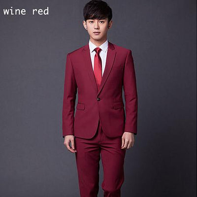 - (Jakcet+Pant+Tie) Men Formal Business Suit Sets Brand Design One Button Slim Fit Dress Wedding Party Fashion Casual Suits - wine red / 4XL  jetcube