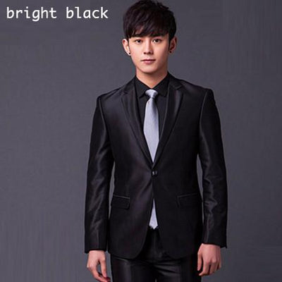 - (Jakcet+Pant+Tie) Men Formal Business Suit Sets Brand Design One Button Slim Fit Dress Wedding Party Fashion Casual Suits - bright black / S  jetcube
