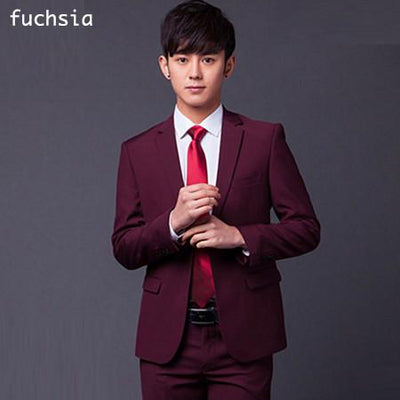 - (Jakcet+Pant+Tie) Men Formal Business Suit Sets Brand Design One Button Slim Fit Dress Wedding Party Fashion Casual Suits - fuchsia / S  jetcube