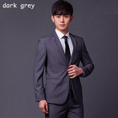 - (Jakcet+Pant+Tie) Men Formal Business Suit Sets Brand Design One Button Slim Fit Dress Wedding Party Fashion Casual Suits - dark gray / S  jetcube