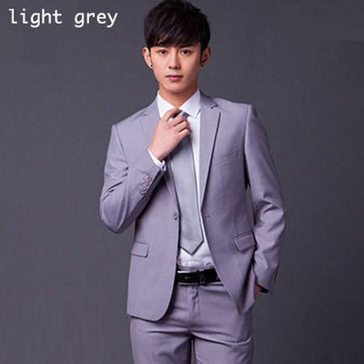 - (Jakcet+Pant+Tie) Men Formal Business Suit Sets Brand Design One Button Slim Fit Dress Wedding Party Fashion Casual Suits - light gray / S  jetcube