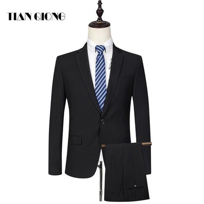 - (Jackets+Pant)2016 new arrival Famous brand TIANQIONG High quality Polyester and viscose Business casual men's black color suits - suits / S  jetcube