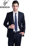 - (Jacket + pant + tie) Suit male slim formal groom married men's clothing wear commercial suits men business suits -   jetcube