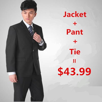 - (Jacket + pant + tie) Suit male slim formal groom married men's clothing wear commercial suits men business suits - black 3 buttons / S  jetcube