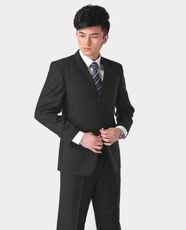 - (Jacket + pant + tie) Suit male slim formal groom married men's clothing wear commercial suits men business suits - navy blue 3 buttons / S  jetcube