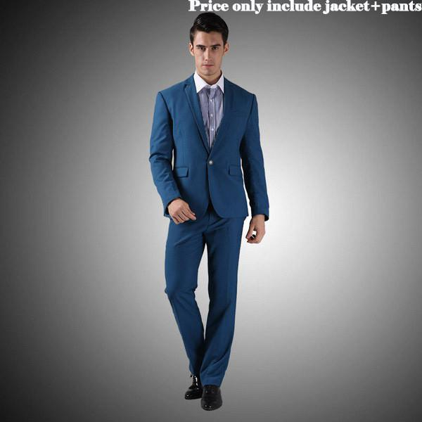 - (Jacket+Pants+Tie)Men Wedding Dress Suits 2016 Wine Red Black Grey terno masculino Casual Tuxedo F1315 - 1Button Diamond Blue / S / China  jetcube