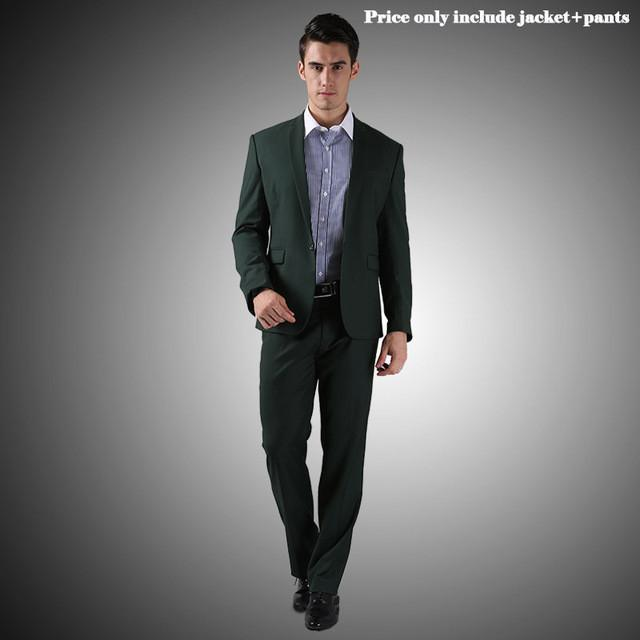 - (Jacket+Pants+Tie)Men Wedding Dress Suits 2016 Wine Red Black Grey terno masculino Casual Tuxedo F1315 - 1 Button Dark Green / S / China  jetcube