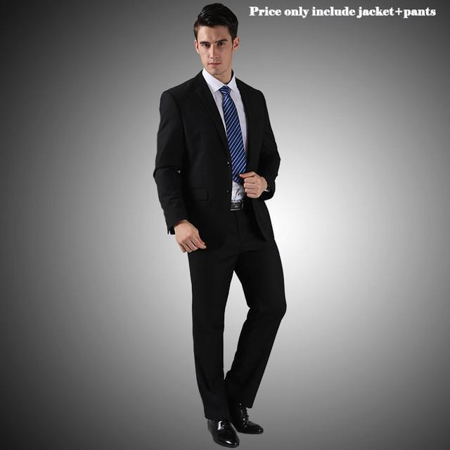 - (Jacket+Pants+Tie)Men Wedding Dress Suits 2016 Wine Red Black Grey terno masculino Casual Tuxedo F1315 - 2 Button Matt Black / S / China  jetcube