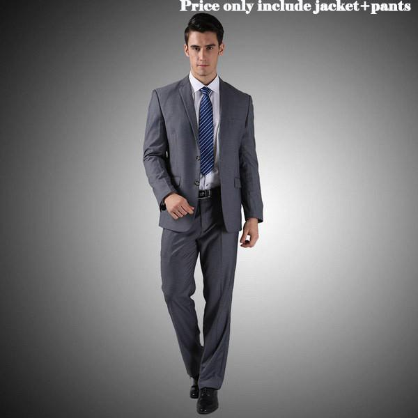 - (Jacket+Pants+Tie)Men Wedding Dress Suits 2016 Wine Red Black Grey terno masculino Casual Tuxedo F1315 - 2 Button Dark Grey / S / China  jetcube