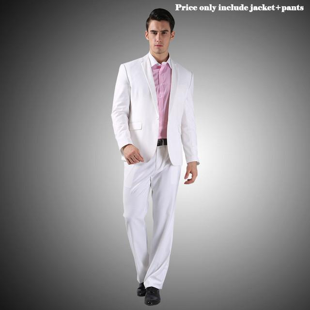 - (Jacket+Pants+Tie)Men Wedding Dress Suits 2016 Wine Red Black Grey terno masculino Casual Tuxedo F1315 - 1 Button White / S / China  jetcube
