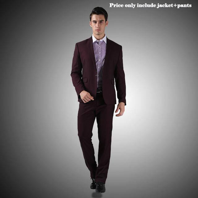 - (Jacket+Pants+Tie)Men Wedding Dress Suits 2016 Wine Red Black Grey terno masculino Casual Tuxedo F1315 - 1 Button Dark Purple / S / China  jetcube