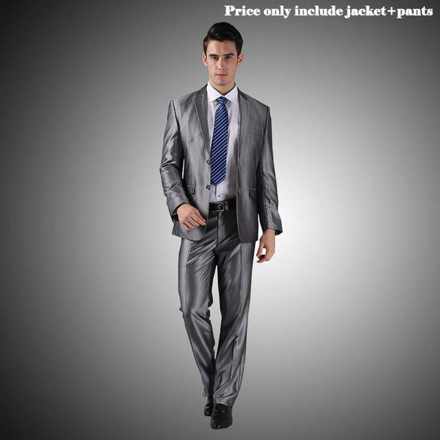 - (Jacket+Pants+Tie)Men Wedding Dress Suits 2016 Wine Red Black Grey terno masculino Casual Tuxedo F1315 - 2 Button Silver Grey / S / China  jetcube