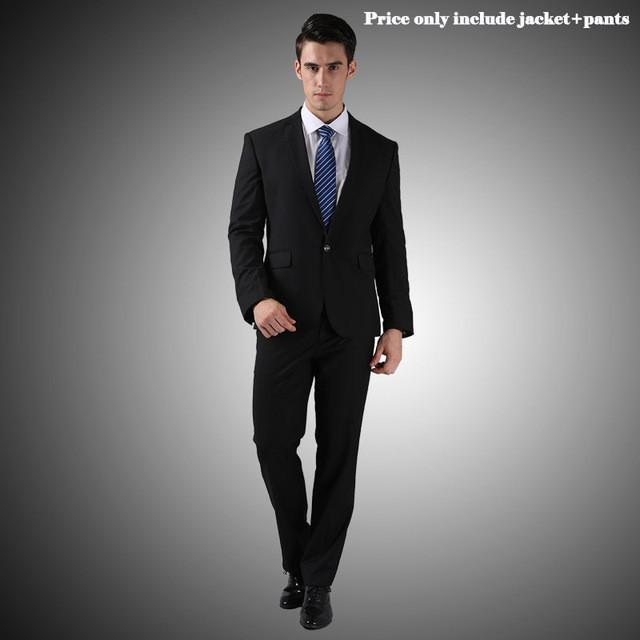 - (Jacket+Pants+Tie)Men Wedding Dress Suits 2016 Wine Red Black Grey terno masculino Casual Tuxedo F1315 - 1 Button Matt Black / S / China  jetcube