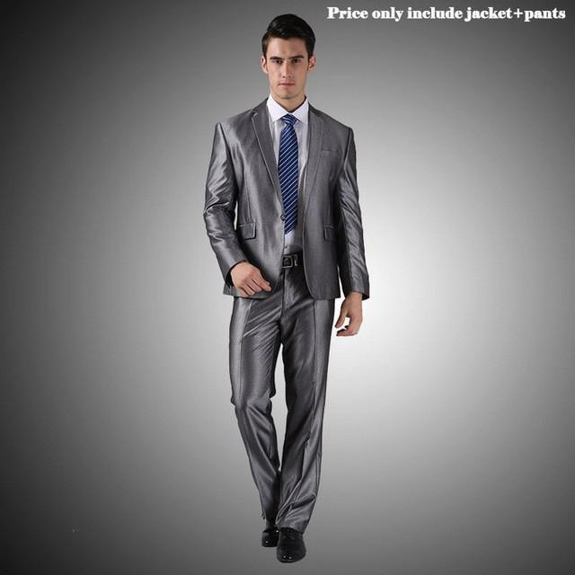 - (Jacket+Pants+Tie)Men Wedding Dress Suits 2016 Wine Red Black Grey terno masculino Casual Tuxedo F1315 -   jetcube