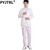 - (Jacket+Pants) White And Black Men's Fashion Tuxedo Mens Stage Show Performance Groom Suit And Pants Party Dresses Male Suits -   jetcube