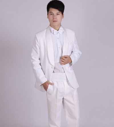 - (Jacket+Pants) White And Black Men's Fashion Tuxedo Mens Stage Show Performance Groom Suit And Pants Party Dresses Male Suits - white 2 one button / S  jetcube
