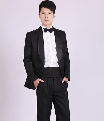 - (Jacket+Pants) White And Black Men's Fashion Tuxedo Mens Stage Show Performance Groom Suit And Pants Party Dresses Male Suits - black 2 one button / S  jetcube