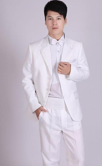 - (Jacket+Pants) White And Black Men's Fashion Tuxedo Mens Stage Show Performance Groom Suit And Pants Party Dresses Male Suits - white three buttons / S  jetcube
