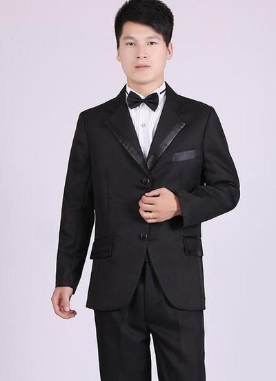 - (Jacket+Pants) White And Black Men's Fashion Tuxedo Mens Stage Show Performance Groom Suit And Pants Party Dresses Male Suits - black three buttons / S  jetcube