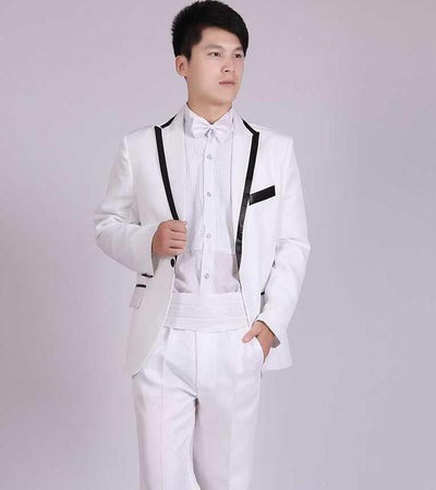 - (Jacket+Pants) White And Black Men's Fashion Tuxedo Mens Stage Show Performance Groom Suit And Pants Party Dresses Male Suits - white 3 one button / S  jetcube