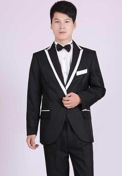 - (Jacket+Pants) White And Black Men's Fashion Tuxedo Mens Stage Show Performance Groom Suit And Pants Party Dresses Male Suits - black 3 one button / S  jetcube