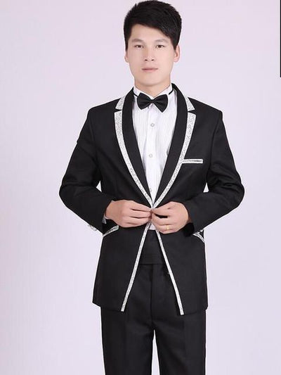 - (Jacket+Pants) White And Black Men's Fashion Tuxedo Mens Stage Show Performance Groom Suit And Pants Party Dresses Male Suits - black silver / S  jetcube