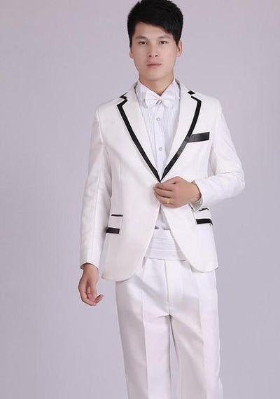 - (Jacket+Pants) White And Black Men's Fashion Tuxedo Mens Stage Show Performance Groom Suit And Pants Party Dresses Male Suits - white 4 one button / S  jetcube