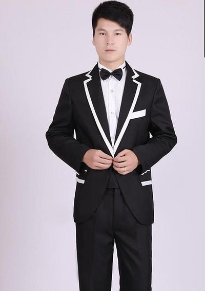 - (Jacket+Pants) White And Black Men's Fashion Tuxedo Mens Stage Show Performance Groom Suit And Pants Party Dresses Male Suits - black 4 one button / S  jetcube