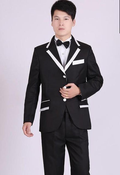 - (Jacket+Pants) White And Black Men's Fashion Tuxedo Mens Stage Show Performance Groom Suit And Pants Party Dresses Male Suits - three buttons 1 / S  jetcube