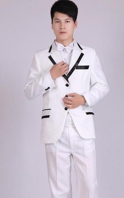 - (Jacket+Pants) White And Black Men's Fashion Tuxedo Mens Stage Show Performance Groom Suit And Pants Party Dresses Male Suits - three buttons 2 / S  jetcube