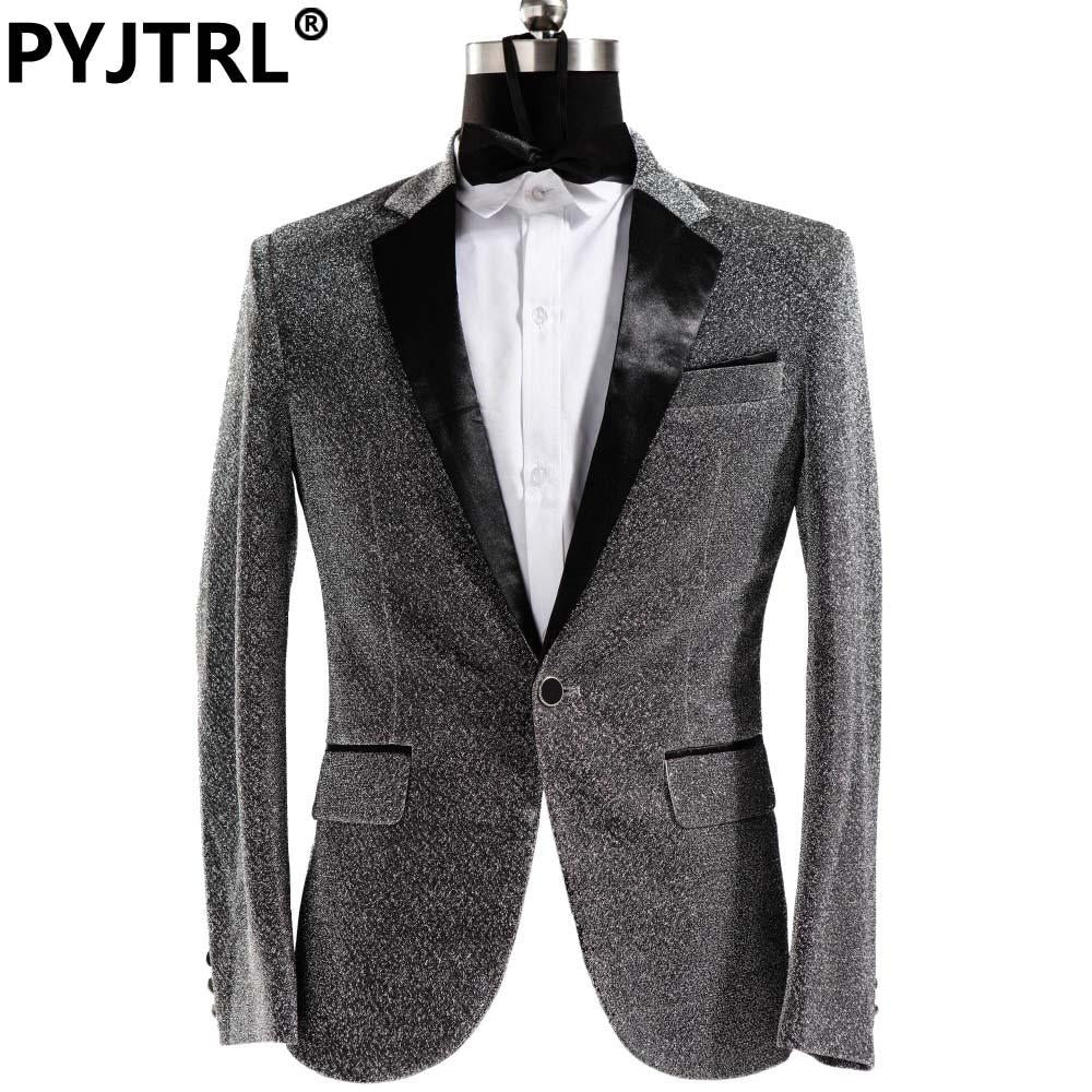 - (Jacket + Pants) Male Dress Singer Host Men Slim Fit Shiny Film Groom Wedding Suit Show Performances Mens Prom Customized Suits -   jetcube