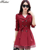 - 1PC Trench Coat For Women Spring Coat Double Breasted Lace Casaco Feminino Autumn Outerwear Abrigos Mujer Q015 -   jetcube