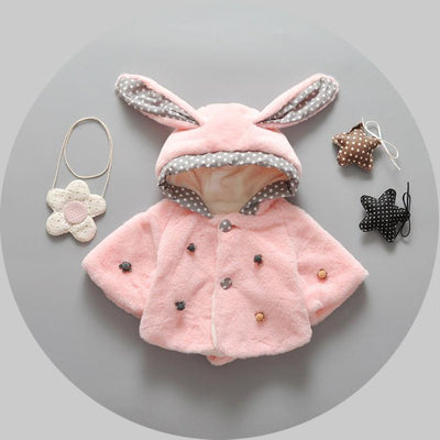 - $9.99 Autumn winter baby girl coats rabbit baby soft fleece cloak Toddler clothes for girls cape for outerwear Newborn clothing -   jetcube