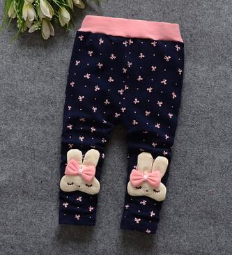 - (1piece /lot) 100% cotton 2015 new lace Meng rabbit bow Leggings for baby girl - Blue / 7-9 months  jetcube