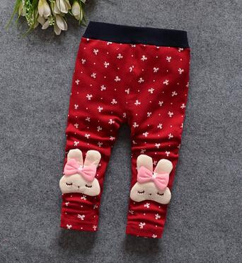 - (1piece /lot) 100% cotton 2015 new lace Meng rabbit bow Leggings for baby girl - Red / 7-9 months  jetcube