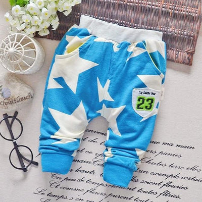 - 0-2T baby boys pants letters boy clothing cotton baby clothing kids trousers children pants harem sports factory sale qk283 - star blue light / 7-9 months  jetcube