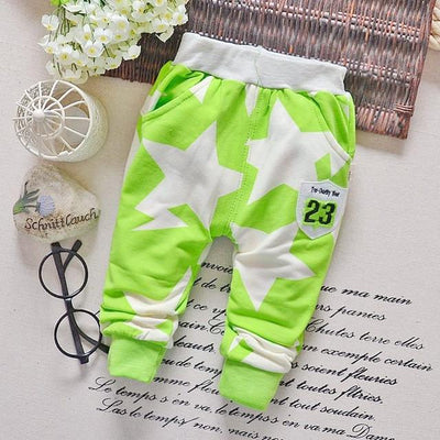 - 0-2T baby boys pants letters boy clothing cotton baby clothing kids trousers children pants harem sports factory sale qk283 - star green / 7-9 months  jetcube