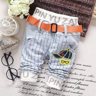 - 0-2T baby boys pants letters boy clothing cotton baby clothing kids trousers children pants harem sports factory sale qk283 - grey plaid / 7-9 months  jetcube