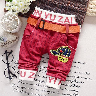 - 0-2T baby boys pants letters boy clothing cotton baby clothing kids trousers children pants harem sports factory sale qk283 - red plaid / 7-9 months  jetcube