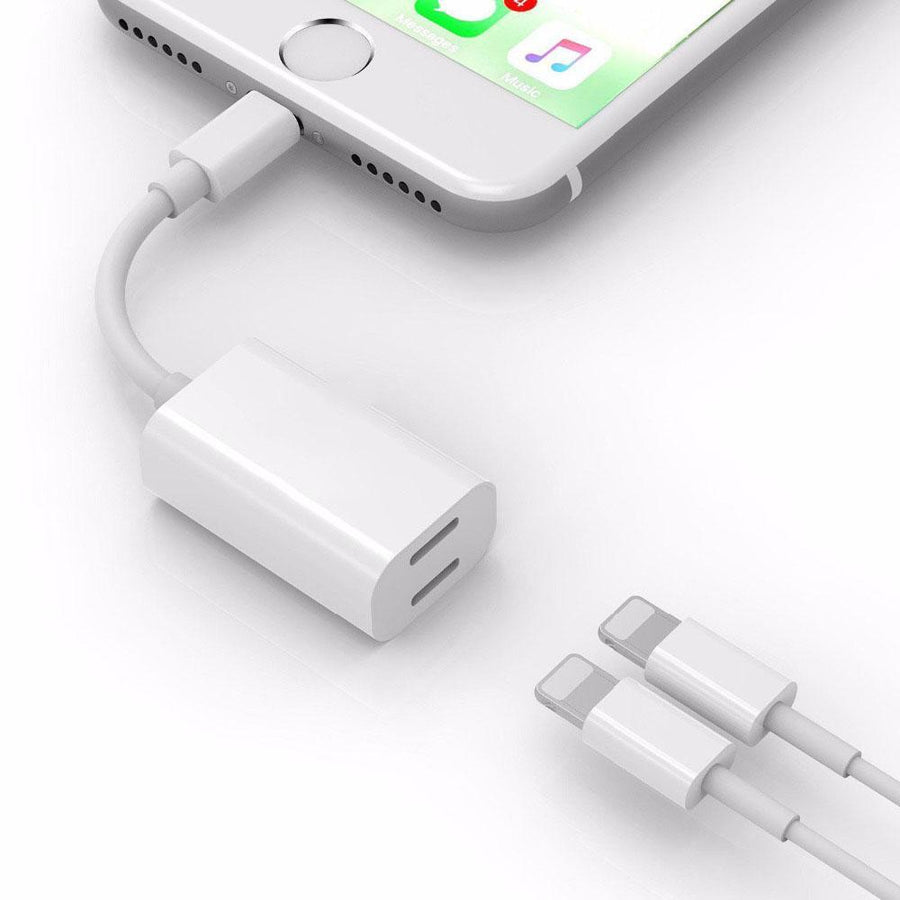 Electronics&Accessories - 2 in1 Audio Cable Adapter For iphone 7/7 Plus/8/8 Plus/X - White  jetcube