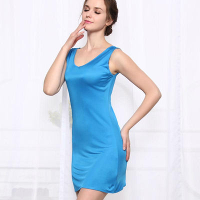 - 100%REAL SILK  women sleep dress solid basic slip dress V neck FULL slips sleeveless new underwear BLUE WHITE BLACK NUDE -   jetcube