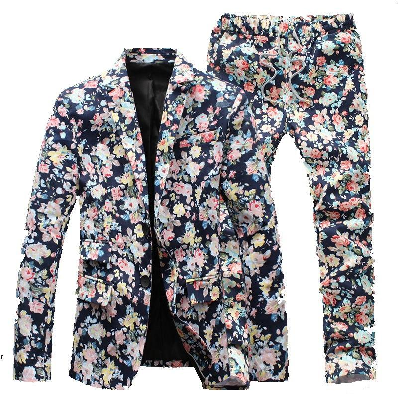 - (Jacket+Pants) Men Floral Suits 2015 New Designer Brand Fashion vintage Slim Flower Business Dress Suit Blazer Free shipping -   jetcube