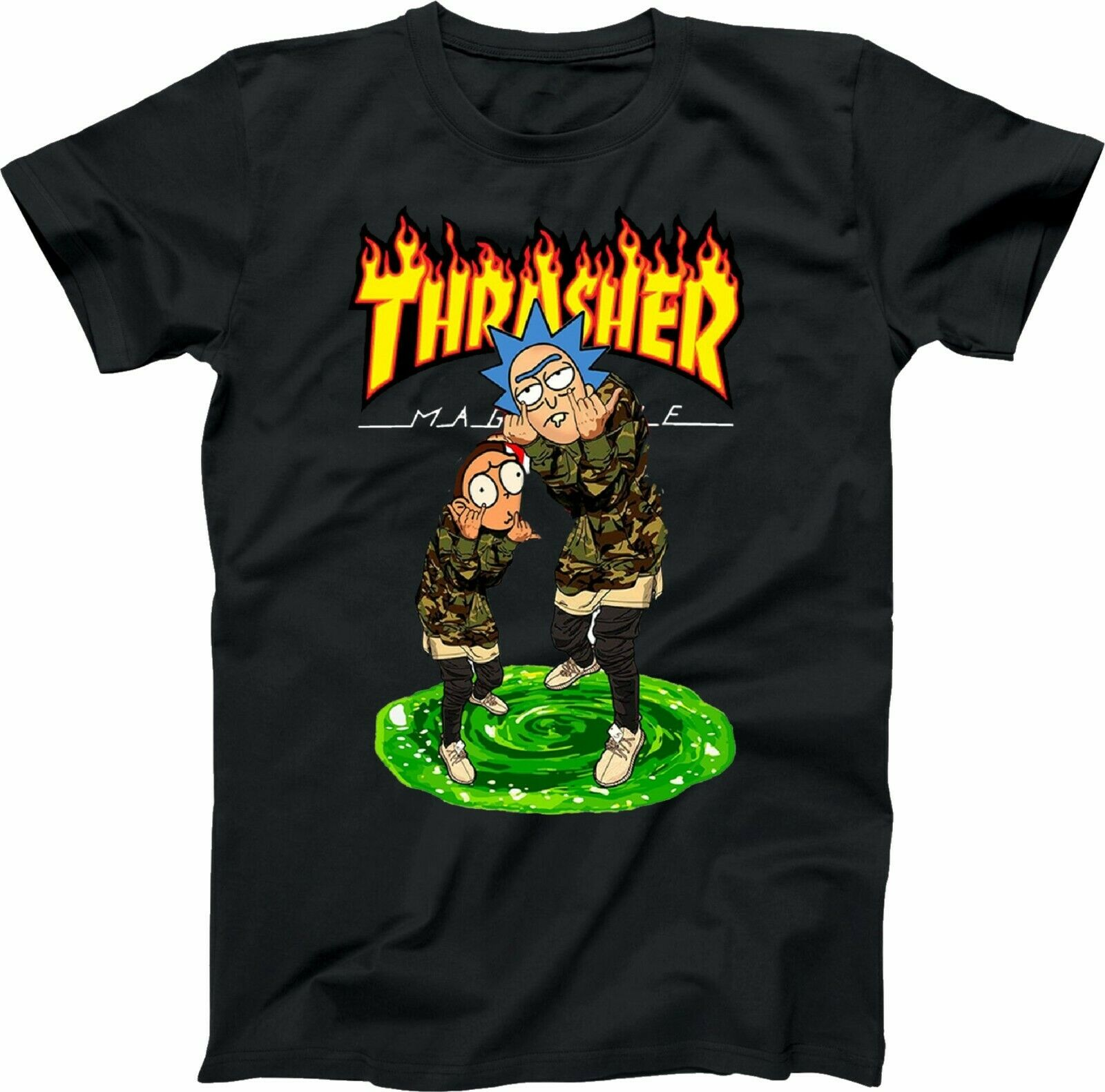Rick and Morty thrasher magazine Fire weed Funny Movie Inspired Causal Tees