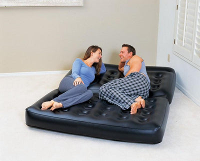 two people seat large bean bag lounger solid black inflatable air