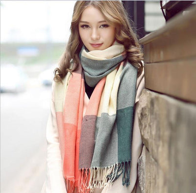Scarves - 2015 Fashion Wool Women Scarf Spain Desigual Scarf Plaid Thick Large Scarf Women Warp echarpes Scarves Shawl for Woman - 10  jetcube